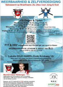 Weerbaarheid en Zelfverdediging  NIEUW bij HSV Haren in samenwerking met F1T